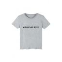 Fashion Russian Letter Printed Round Neck Short Sleeve Basic T-Shirt