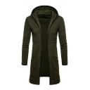 Men's Basic Solid Long Sleeve Slim Fitted Longline Hoodie