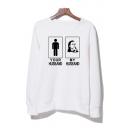 unny Letter Figure Printed Long Sleeve Round Neck Unisex Sweatshirt