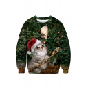 Lovely 3D Cartoon Christmas Cat Pattern Long Sleeve Round Neck Green Sweatshirt