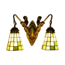 16-Inch Wide Tiffany Two Light Wall Sconce with Plaid Pattern Glass Shade in Green