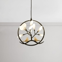 Designers Lighting Post Modern 14 Inch Wide Ring LED Pendant Lights with Birds Decoration 9 Light Heracelum II Chandeliers in Black/Gold