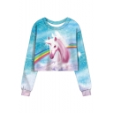 Rainbow Unicorn Pattern Long Sleeve Round Neck Blue Sweatshirt