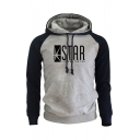 Hot Sale Colorblock Letter STAR Printed Casual Slim Drawstring Hoodie