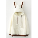 Winter's Fashionable Cartoon Rabbit Ear Hood Long Sleeve Colorblock White Hoodie