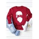 New Fashion Cartoon Character Santa Claus Pattern Long Sleeve Crewneck T-Shirt