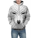 Fashionable Digital 3D Animal Printed Long Sleeve Unisex White Loose Hoodie