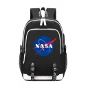 44*30*15cm Letter NASA Printed Casual Zipper Backpack School Bag with USB Charging for Juniors