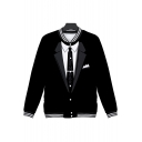 Trendy 3D Color Block Long Sleeve Stand Collar Unisex Black Baseball Jacket
