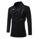 Winter's Notched Lapel Collar Long Sleeve Zip Embellished Double Breasted Woolen Black Coat