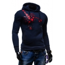 Men's Fashion Spider Pattern Long Sleeve Sports Slim Navy Hoodie