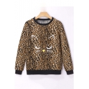 New Trendy Leopard Cartoon Cat Printed Round Neck Long Sleeve Pullover Sweatshirt