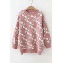 Casual Long Sleeve Round Neck Windmill Printed Sweater for Girls