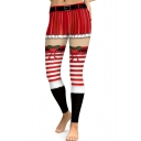 Digital Striped Printed High-Rise Sports Yoga Red Leggings