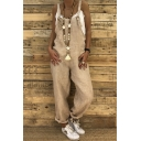 Fashion Casual Leisure Loose Fitted Solid Linen Overall Jumpsuits