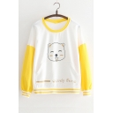 Lovely Bear Printed Color Block Round Neck Long Sleeve White Sweatshirt