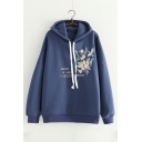 Fashion Letter Floral Embroidered Long Sleeve Regular Hoodie