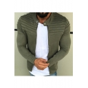 Men's Stand Collar Long Sleeve Simple Solid Zip Up Jacket