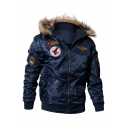 Unique Logo Badge Patched Long Sleeve Hooded Zip Up Winter's Worker Coat
