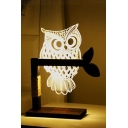 Unique Night Owl Shaped White Light Table Lamp Night Lamp