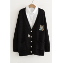 Cartoon Fox Embroidered Long Sleeve Button Front Cardigan with Double Pockets