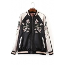 Trendy Long Sleeve Stand Collar Color Block Floral Embroidered Zip Up Reversible Baseball Jacket