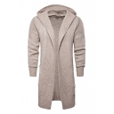 Men's Longline Long Sleeve Hooded Open Front Basic Solid Fitted Cardigan