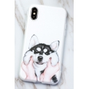 Lovely Cartoon Cat Printed White Mobile Phone Case for iPhone
