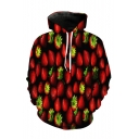Unique 3D Strawberry Pattern Long Sleeve Loose Sports Red Hoodie