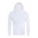 Simple Solid Long Sleeve Slim Fitted Unisex Drawstring Hoodie