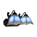 2-Light Double Wall Sconce with Tiffany Style Art Glass Shape in Blue/Sky blue/Beige