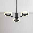 Brown Finish LED Tyre Chandelier 24/32W 3000K 3 Light/4 Light Acrylic Ring Chandelier Lighting for Living Room Dining Room