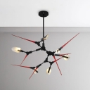 Creative New Design Black and Red Summit Chandelier 6/10/16 Light Metal LED Spark Chandelier for Bar Clothes Stores Bedroom