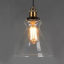 Industrial Style Single Pendant Light Clear Glass Cone Shade in Brass for Kitchen Restaurant