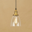 Cloche Shade Hanging Single Lighting with Clear Glass in Vintage Style for Kitchen Warehouse