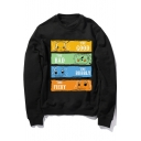 Street Style Long Sleeve Crew Neck Cartoon Printed Pullover Sweatshirt