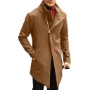 Winter's Stand Collar Long Sleeve Chic Sloping Zip Closure Longline Slim Fitted Coat