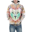 Animal Tiger Printed Long Sleeve Colorblock White Loose Hoodie