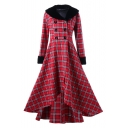 Winter's Classic Check Print Folded Collar Long Sleeve Double Breasted Midi Fit and Flared Dress