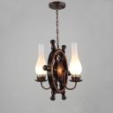 Dark Bronze Anchor 2 Light Chandelier in Nautical Style for Restaurant Farmhouse Foyer