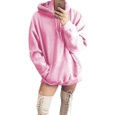 Simple Long Sleeve Plain Leisure Tunics Drawstring Hoodie for Girls