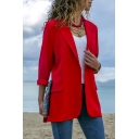 Hot Fashion Long Sleeve Notched Lapel Slim Plain Tunics Blazer Coat
