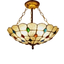 Multicolored Jewels Accent Frosted Glass Hanging Light Fixture with Peacock Tail Bowl Shade