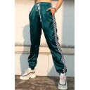 Fashion Colorblock Elastic Drawstring Waist Loose Fitted Jogger Pants