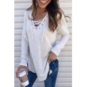 Lace-Up V Neck Long Sleeve Basic Solid Loose Fitted T-Shirt