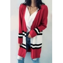 Fancy Striped Color Block Long Sleeve Open Front Longline Cardigan