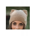 Cute Cat Shaped M Letter Patched Knit Beanie for Women