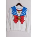 Bow Tie Sailor Collar Painting Long Sleeve Crewneck Regular Fitted Blue Sweatshirt