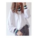 Color Block Ribbed Trim Long Sleeve V Neck Loose Fitted T-Shirt