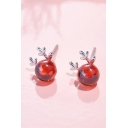 Girls' Cute Elk Shaped Crystal Silver Red Earrings with Rubber Stopper
